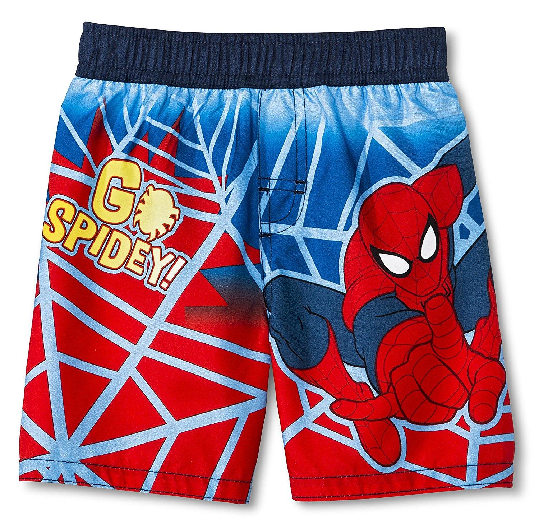 0219fc107b Marvels Little Toddler Boys Red Royal Blue Striped Go Spidey Swim Shorts  2-4T Swim