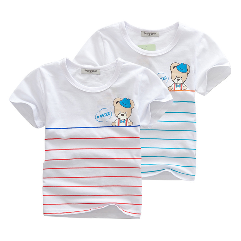 Kids Unisex Rushed Meninos Minion 2015 Summer Style Children's Clothing Child T-shirt Striped Cotton Short-sleeved Free Shipping