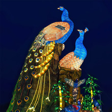 Zoo festival decoration traditional Chinese silk animal peacock lanterns