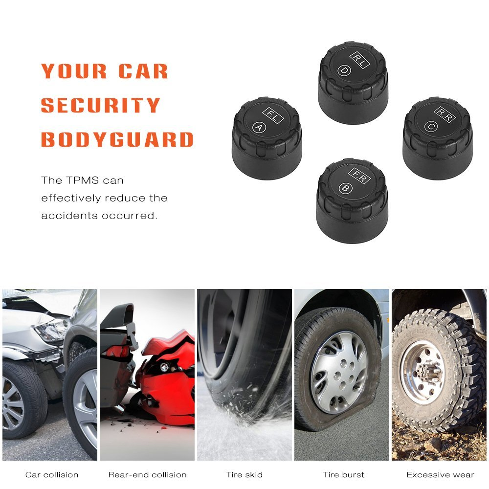 Solar Power Wireless Automatic Tire Pressure Alarm Monitor/Car TPMS - Tire pressure sensor TP5000