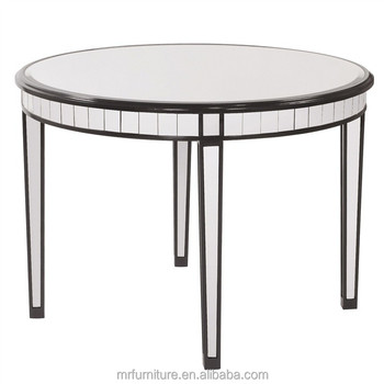 Superbe Round Mirrored Accent Table In Black Wooden Rimming