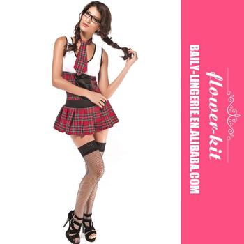 500e28feb Mulheres Bonitas Fantasias de Colegial Xadrez Plissada Hot Cosplay Vestido  de Festa