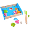 Baby Wooden educational Fishing puzzle toy 14Pcs magnetic wooden fishing game the best holiday gift for 2 + year olds
