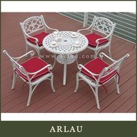 Arlau wrought iron garden table and 4 chairs,metal restaurant table,cheap metal 5 pcs dining table set