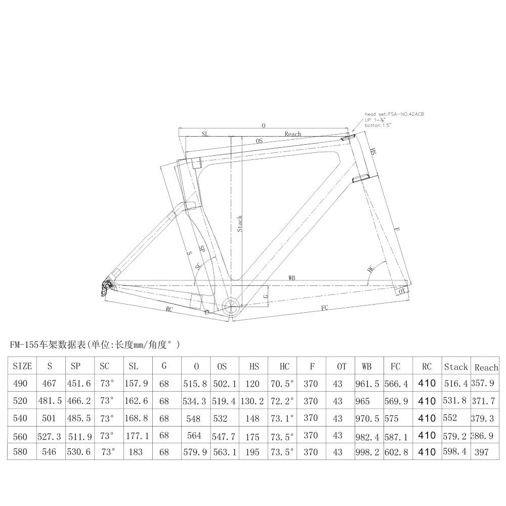 Chinesische Carbon Rennrad Rahmen, 160 MM Scheibenbremse T700 telaio ...