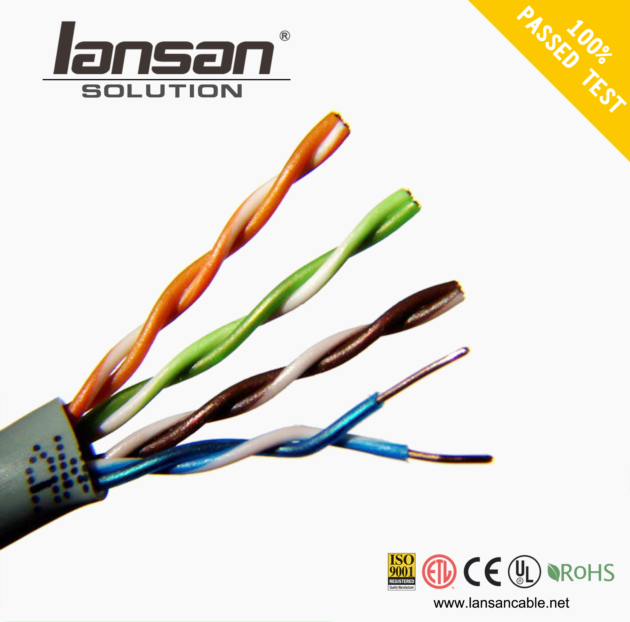 Solid Bare Copper 4 Pairs Awg24 Awg23 Utp Cat5e Cat6 Lan Ethernet Cat 5e Patch Cables Flexible Wire With Conductor Cable