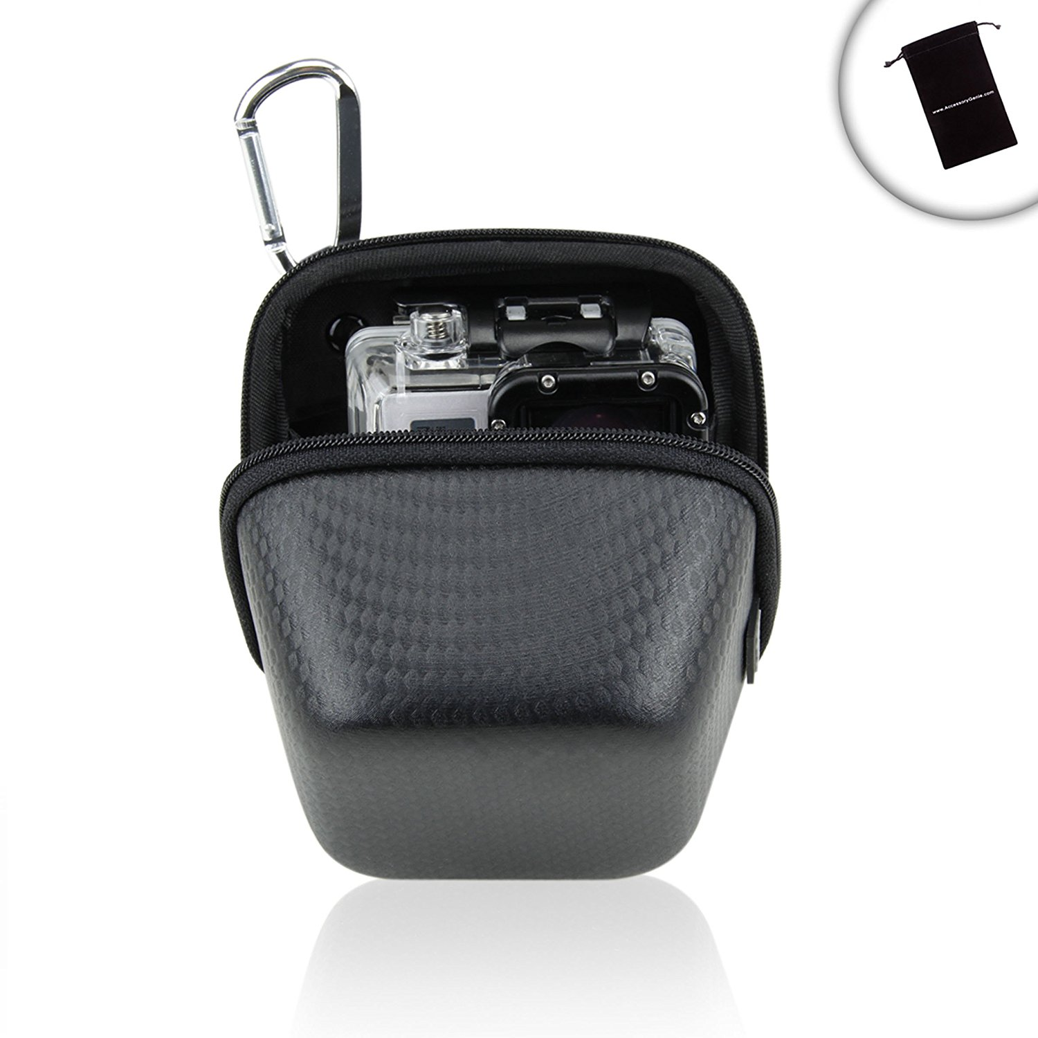 DuraSHELL GoPro Hardshell Camera Case with EVA Molded Design , Weather-Resistant Exterior and Metal Carabiner Clip - Works with the NEW GoPro HERO4 Session , HERO4 Black , HERO3+ and Many More