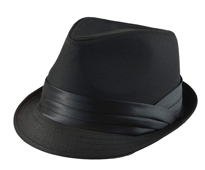 0ac852c4 Mens Classic Fedora Plain Basic Solid Trilby Short Brim Hat S/M, L/XL AVL  Black