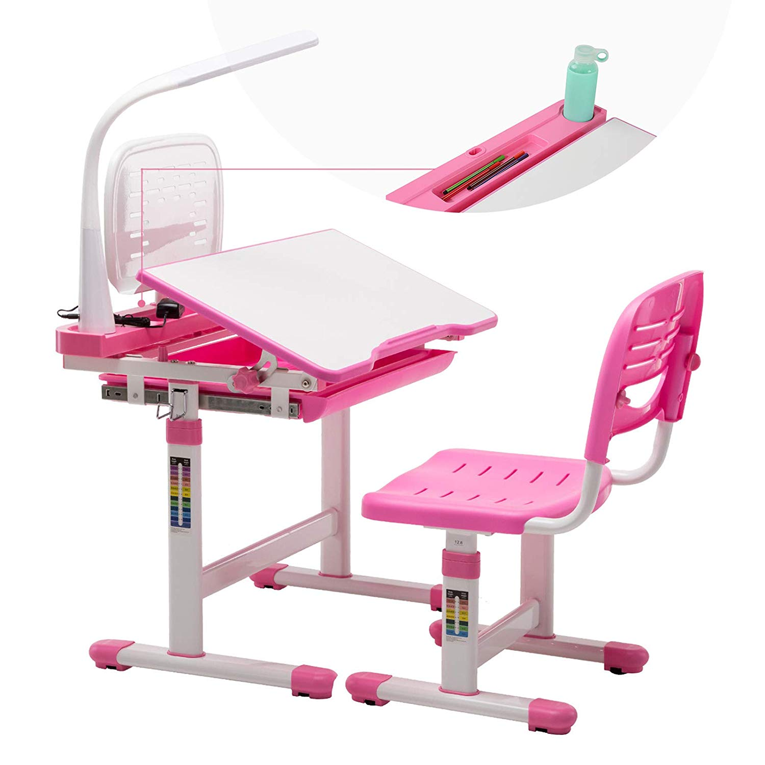 Mecor Kids Desk and Chair Set, Children's Sturdy Table Height Adjustable, Student School Desks with Lamp,Pencil Case,Bookstand,Pink
