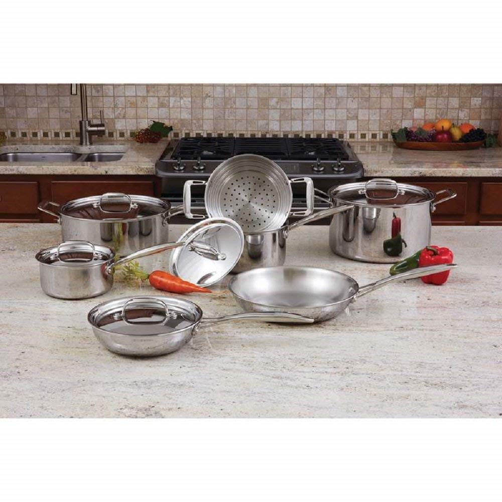 Maxam® 12 Piece Tri-Ply 18/10 Stainless Steel Clad Cookware Set