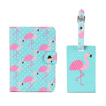 Custom Travel Set PU Leather Printed Passport Holder Suitcase Luggage Tag Set