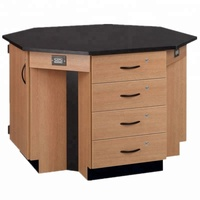 Laboratory furniture/ 4-student octagon island table phenolic top with wood grain coated