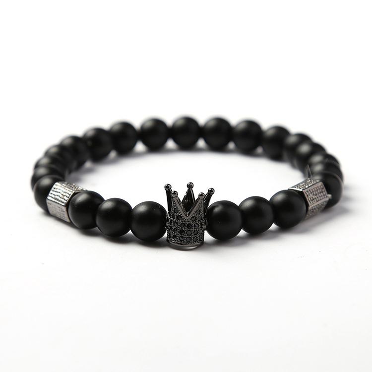 New Trendy Imperial Crown Charm Bracelets Men Natural Stone Stone Beads Bracelet For Men Jewelry фото