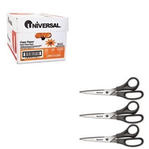 KITACM13402UNV21200 - Value Kit - Westcott All Purpose Value8amp;quot; Bent Scissors 3-pack (ACM13402) and Universal Copy Paper (UNV21200)