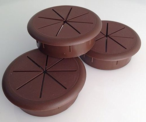 "2.375"" Round Flexible desk Grommet, Plastic, 3-Pack (Brown)"