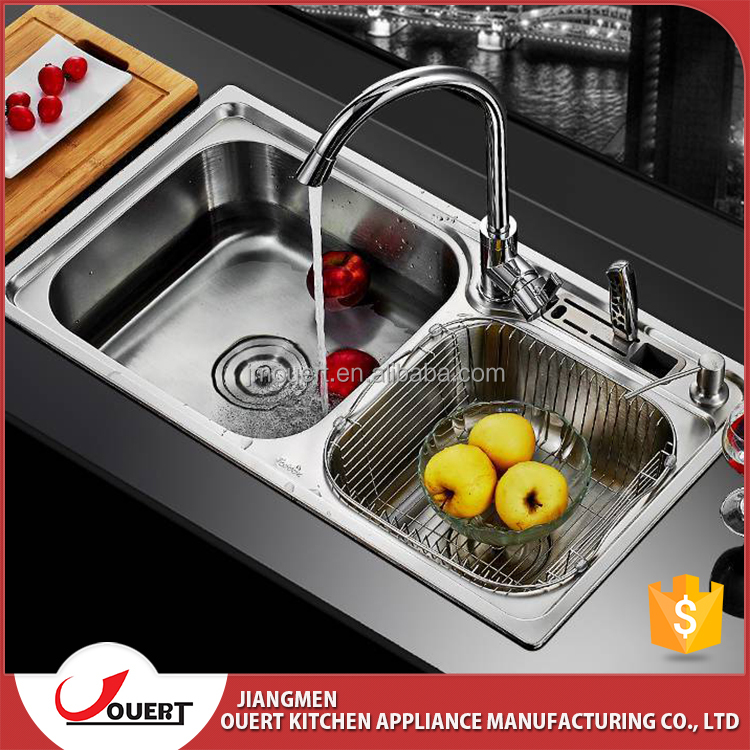 2017 Ouert Stainless Steel Handwash Double Bowl Topmount Kitchen
