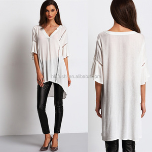 V-neck Lace Up Custom Design Summer Flare sleeves Asymmetric Fashion Women Top