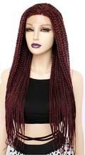ANOGOL длинные бургундские бесклеевые плетеные синтетические парики на кружеве скрученные косы для афро-черных женщин повседневная одежда(Китай)