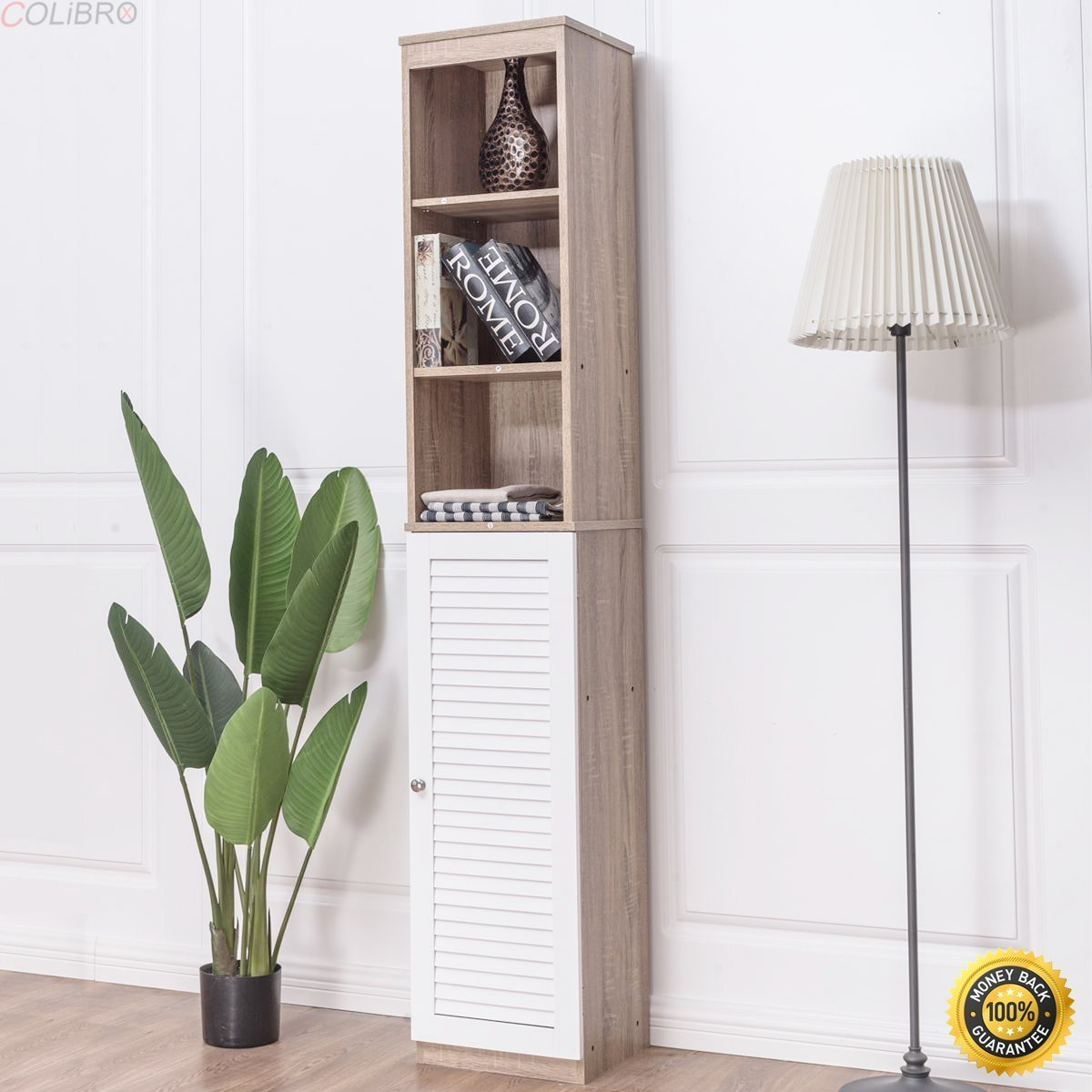 "COLIBROX--71"" Tall Wood Tower Bathroom Bedroom Shelf Organizer Storage Cabinet Louvered,bathroom floor cabinet,bathroom storage cabinets floor standing,floor cabinets with doors."