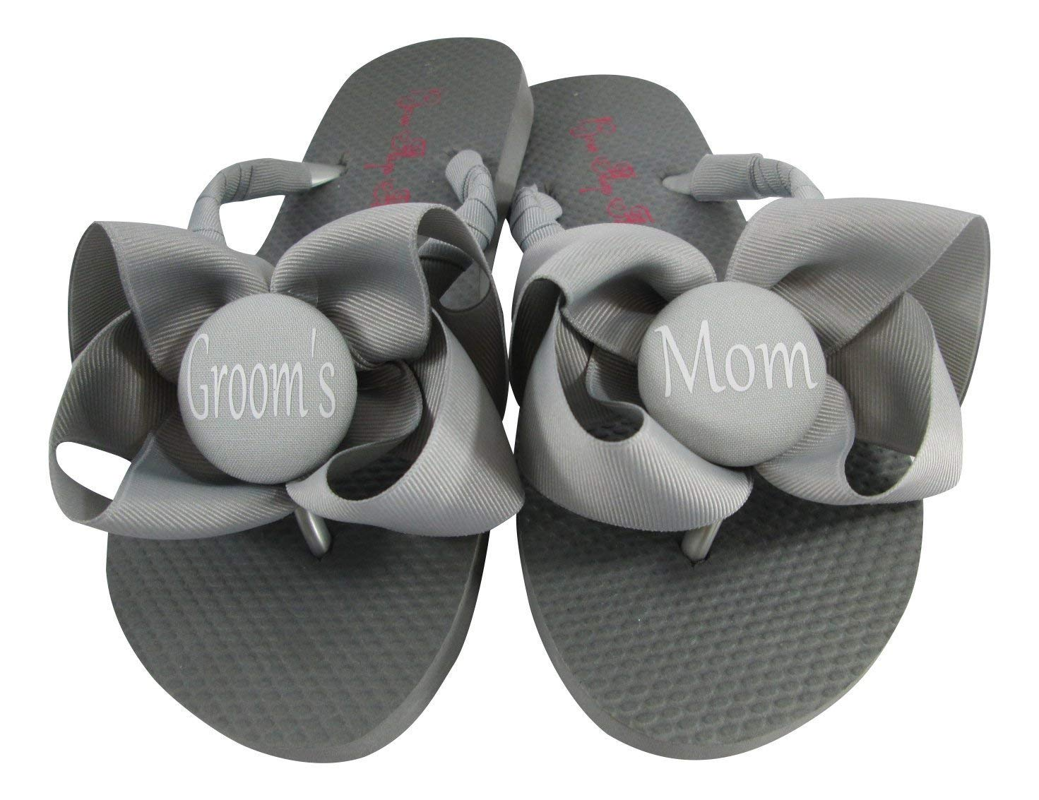 dbf4c6f679e00 Get Quotations · Bride s Mom on Buttons and Bow Flip Flops for Bridal Party