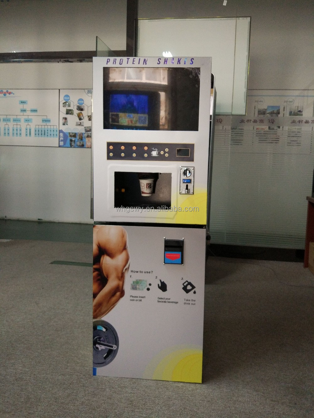 Gym/sports center drink vending machine for protein drink and energy drink