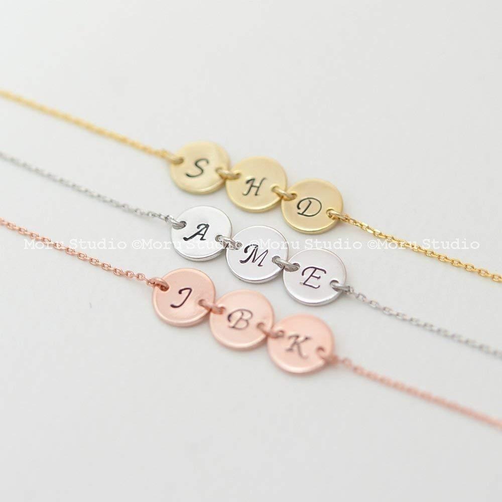 Personalized Initial Bracelet, Name Disc Bracelet, Stamped Disk Bracelet, Custom Name Letter Bracelet, Wedding Gift, Bridesmaid Jewelry, Personalized Gift 145