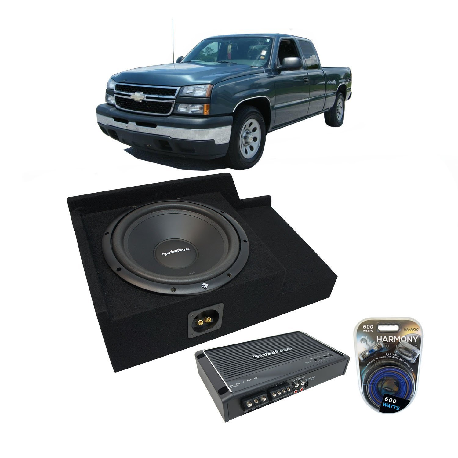 1999-2006 Chevy Silverado Ext Cab Truck Rockford Prime R1S412 Single 12 Sub Box Enclosure & R150X2 Amp