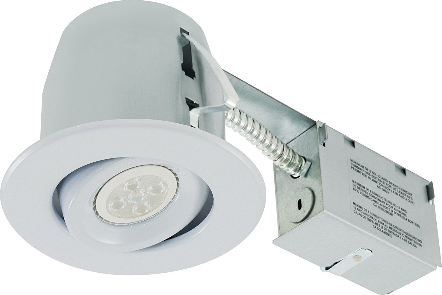 Liteline RC402C18R3-LED-EW-WH All-in-One 4-inch LED Recessed Combo with Remodel Housing, 6W LED PAR16 lamp, Gimbal Trim, White