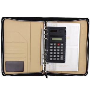 b72c14d67417 PU Leather Zipper 6-ring Portfolio a5 planner binder with calculator