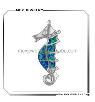 Fashion 925 Silver With Synthetic Opal Inlay seahorse pendant for necklace