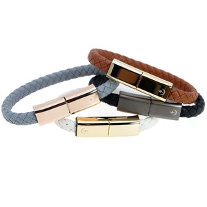 Usb Cable Bracelet Wholesale Braided charging leather bracelet for Android Cell Phone
