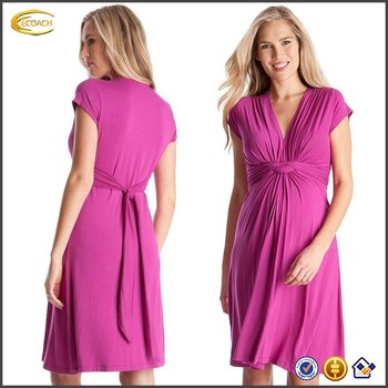 b01344f89dbb1 Ecoach Wholesale OEM European Style Women's Knot Front Maternity and Nursing  Short Cap Sleeve Dress Aside