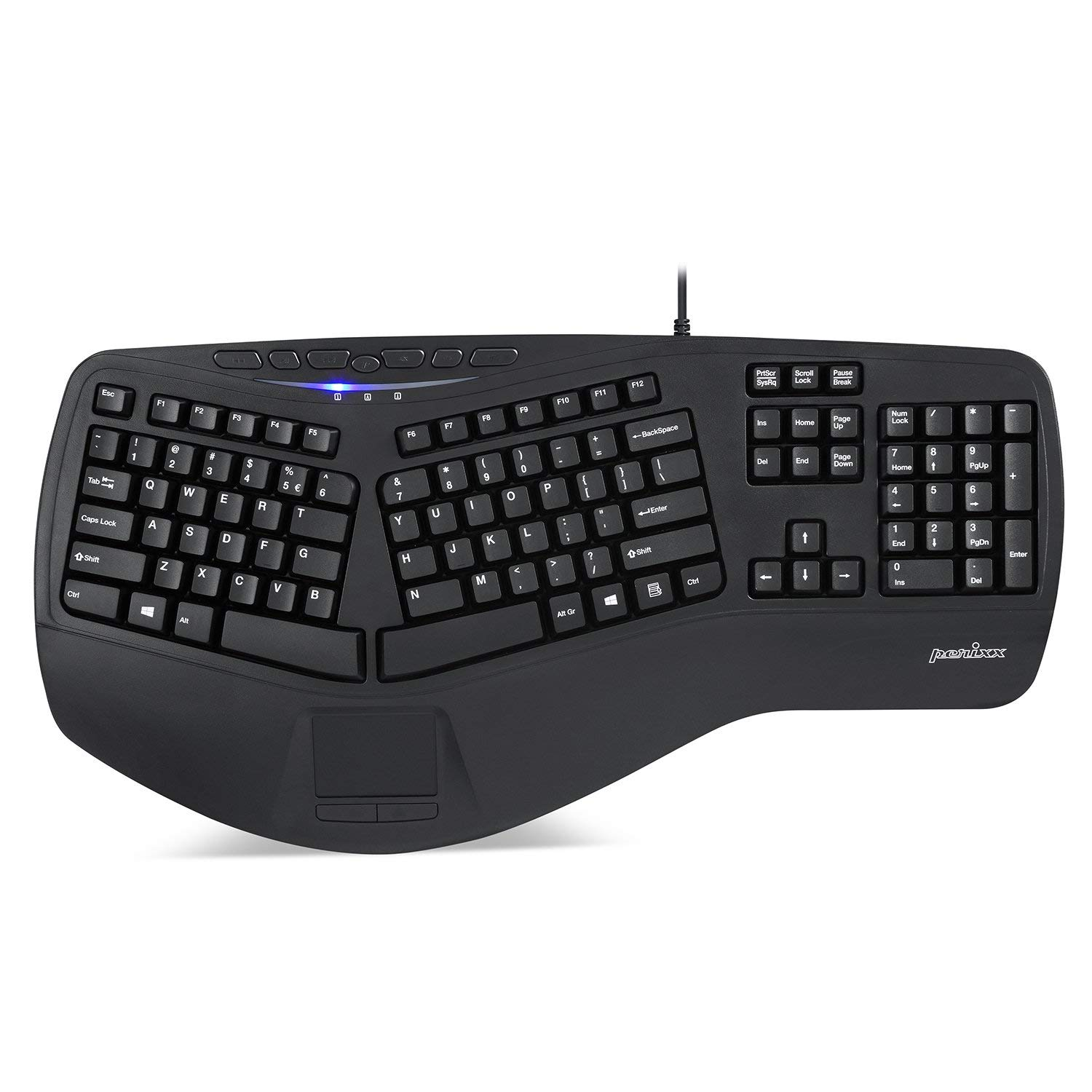 3fa6a50cd62 Get Quotations · Perixx 11348 PERIBOARD-507II Ergonomic Wired USB Keyboard  with Touchpad, Tap to Click Feature