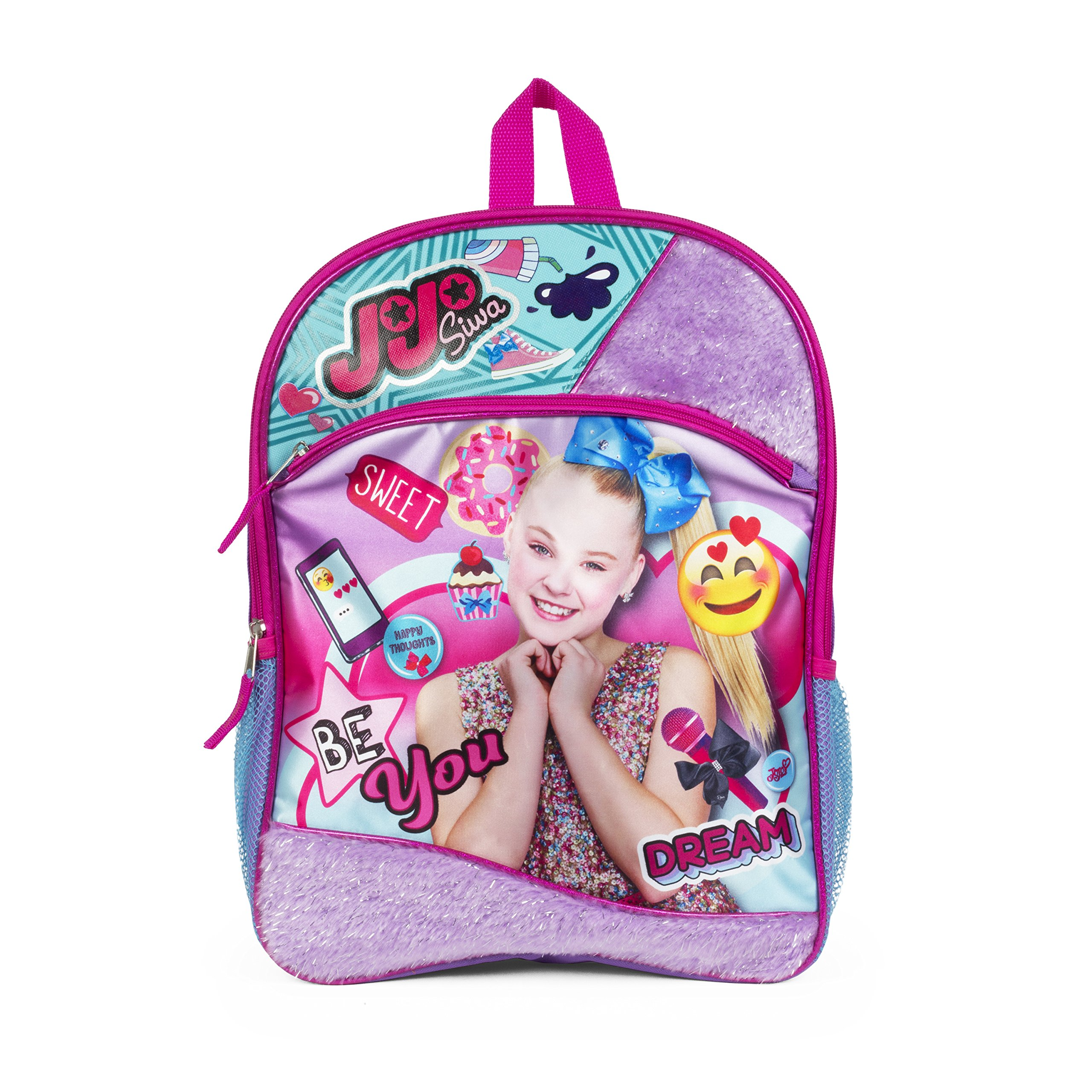 "Nickelodeon JoJo Siwa Purple Sequin Emoji Be You 16"" Inch Backpack Bag"