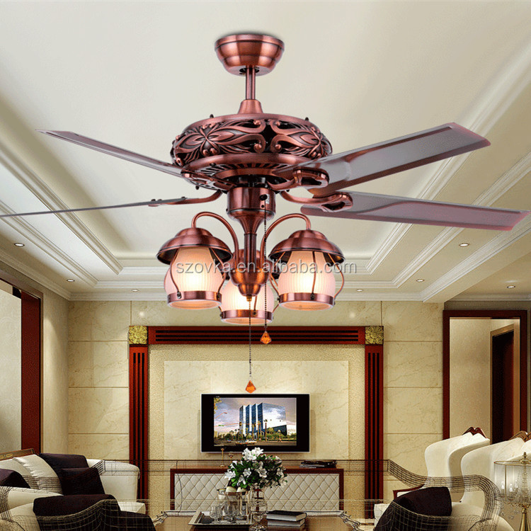 High quality 10 years warranty retro LED light decorative ceiling fan remote control