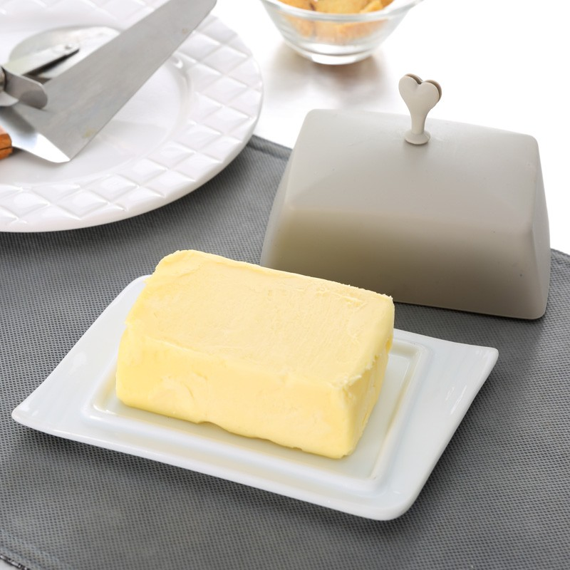 Rectangle ceramic butter dishes for sale with silicone lid