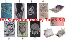 For Samsung Galaxy Tab 3 8.0 T310 Painted PU Flip Leather Case Cover Cute Owl Tiger Tablet Stand Case Wallet With Card Holder