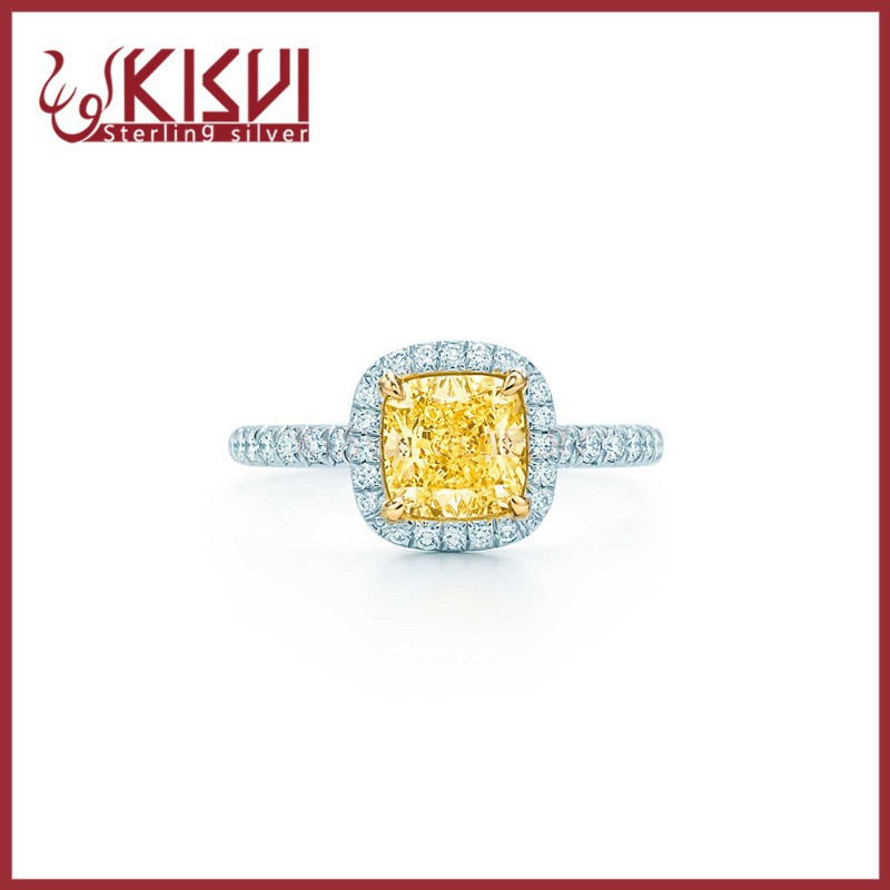 kisvi fashion silver factory Yellow zircon 925 Sterling Silver Rings