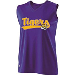 7a541156679 Get Quotations · SLEEVELESS V-NECK LSU TIGERS Girls Curve Dry-Excel  Licensed NCAA College Replica Jersey