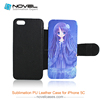 High quality sublimation leather wallet case for iphone 5c, DIY Phone Case