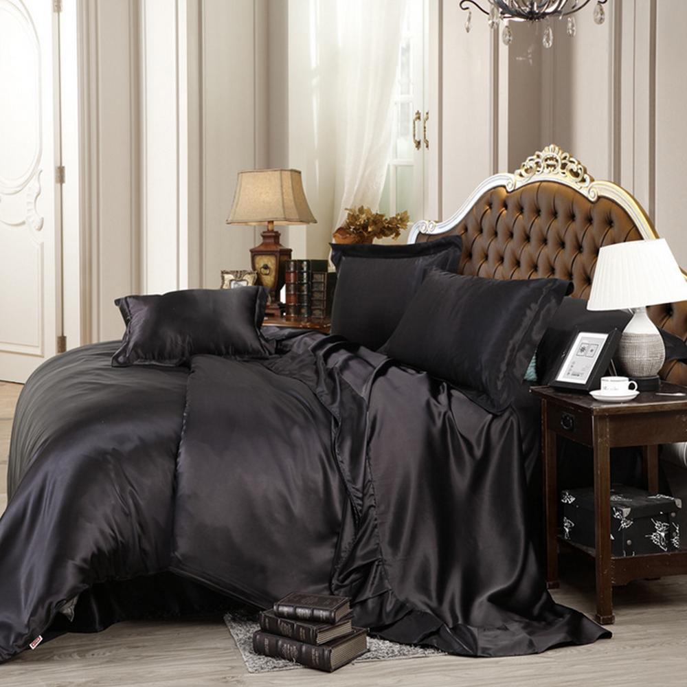 Wholesale Custom Made Black Luxury Bedding Sets Solid Silk