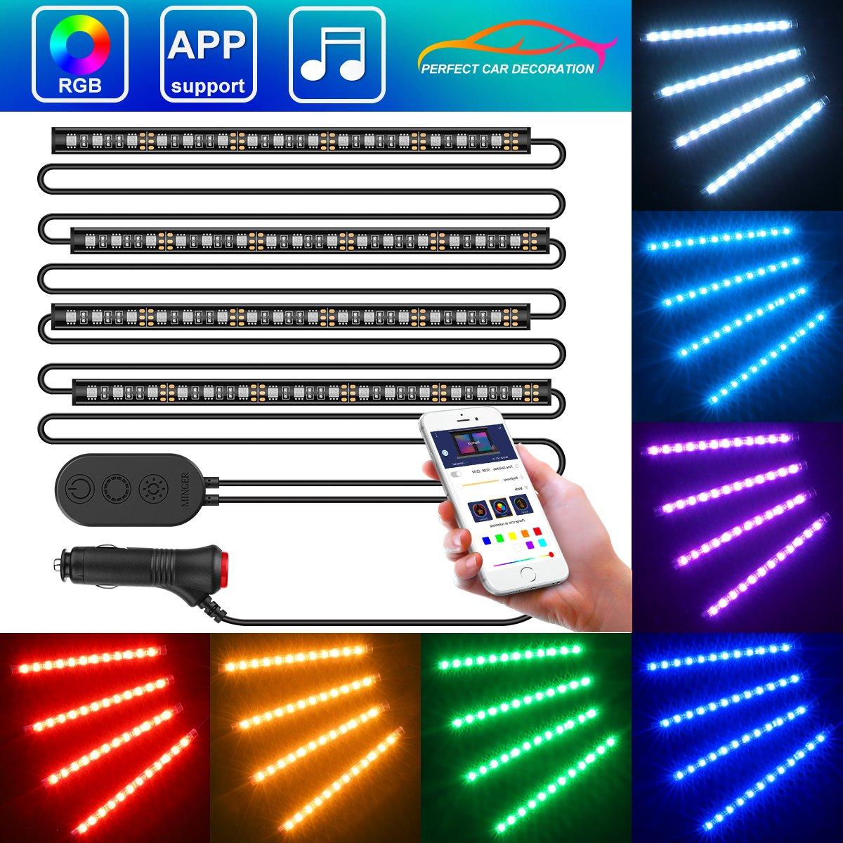 Car LED Strip Light with APP Control, MINGER Upgraded One-Line Design 4×11.8inch 72 LEDs RGB Music Car Lights Strip Build-in MIC, 12V Under Dash Car Interior Lights, Car Charger Included