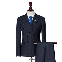 Adult size anti-shrink man business suit wedding suits for men black blue grey man suit
