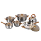 12pcs stainless steel happy baron cookware set with 2.5L kettle