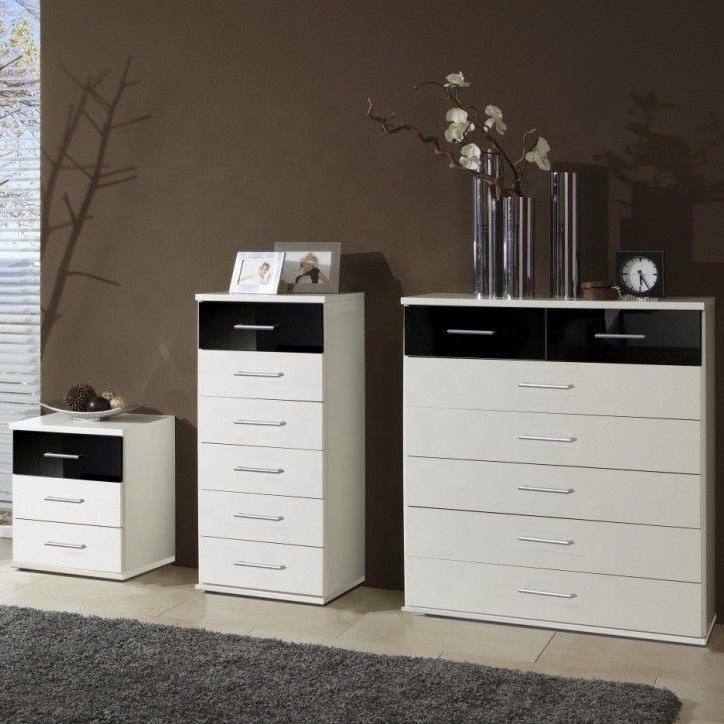 Depolama dolabı çekmece tasarımı ile modern yatak odası mdf mobilya