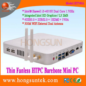 HT740A Intel Haswell i3-4010U 1.70GHz Dual Core with 4 Threads HTPC I3 Thin Client Fanless Barebone Mini PC with USB and VGA