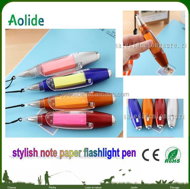 LED Light Pen with note sticker Multi-function Promotional note book LED light ball pen promotional pen