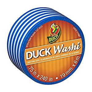 Duck Brand Washi Crafting Tape, 0.75-Inch by 240-Inch Roll, Single Roll, Blue Stripe (282682-S) (2-Pack)
