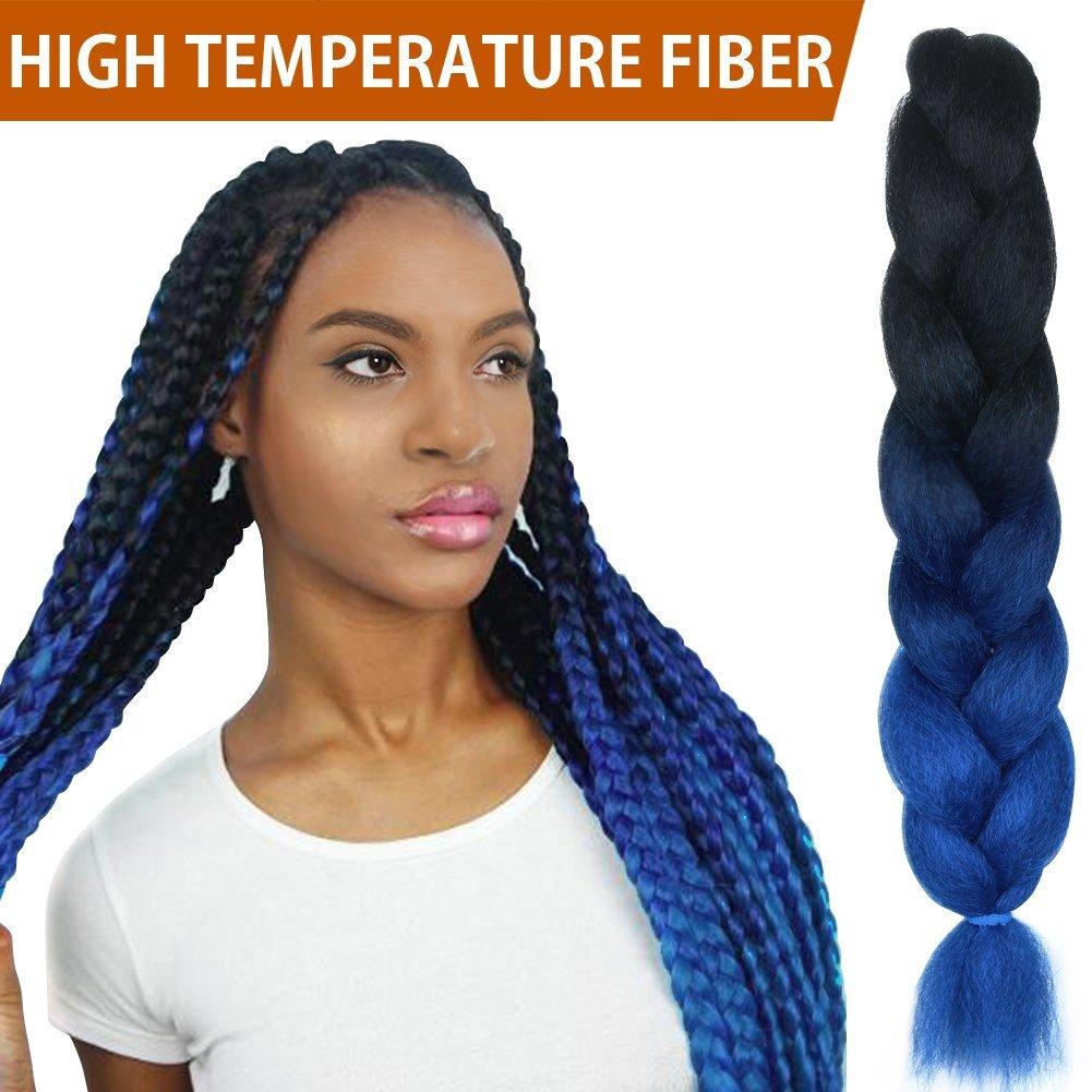 "FASHION IDOL 1-Piece PREMIUM Heat Resistant 30"" Soft Jumbo Braiding Hair (Midnight Blue Ombre, 3.5 Oz) - Kinkys Straight Hair Extensions - Heat Resistant Braiding Hair - Synthetic Hair for Braiding"