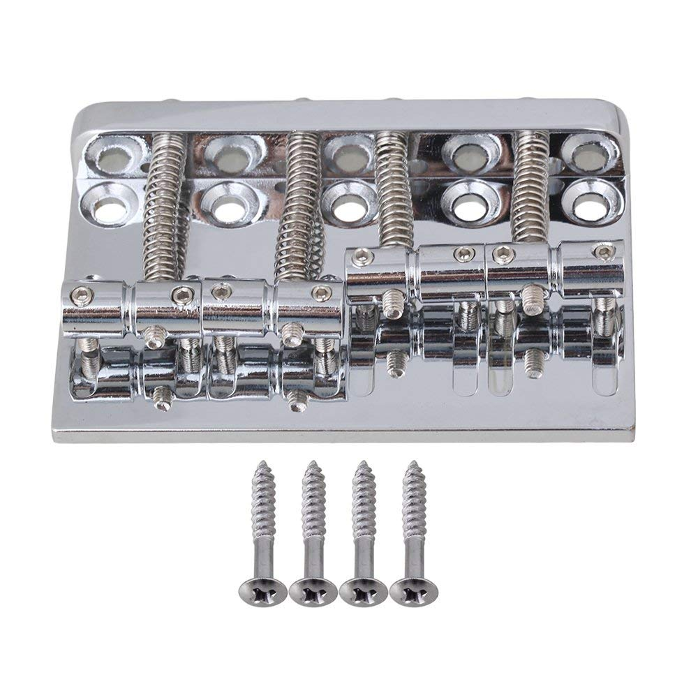 Yibuy Chrome Vintage Noiseless Hard Tail 4 String Bass Bridge with 57mm Pitch